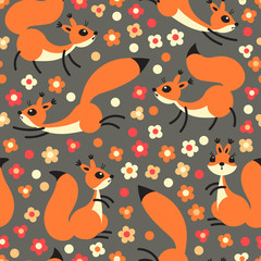 Little cute squirrels on flowers meadow. Seamless spring or summer pattern for gift wrapping, wallpaper, childrens room, clothing.