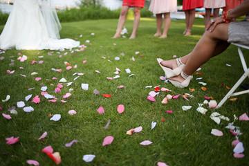 Bride and bride maids, waist down