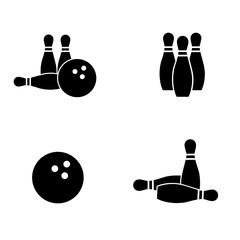Bowling icon set. Vector art.