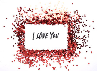 red hearts glitter frame with white background, valentine, love, wedding, marriage concept
