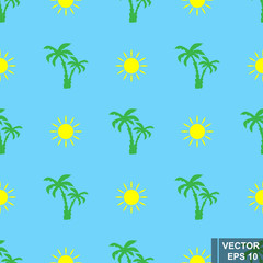 Seamless summer pattern. Palm trees and the sun. Isolated on a blue background.