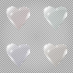 Glass banner set in the form of heart. Vector illustration.