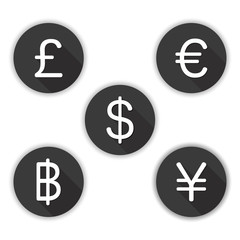 Currency Icon vector - dollar, euro, yen pound and Baht. money symbol set.