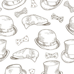 Set of hats and bows. Seamless Pattern. Hand-drawn vector illustration.