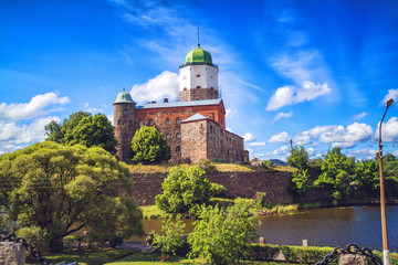 Cityscape of Vyborg in summer day