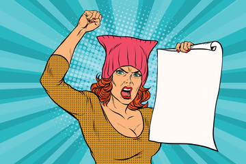 Illustration of a woman protesting with a fist and a paper