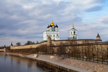 Pskov Kremlin (Krom) fortress wall with beautiful embankment