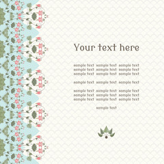 Vector card. Vintage  border in modern style. Aquilegia plants contain  flowers, buds and leaves.  Place for your text. Perfect for invitations, announcement or greetings.