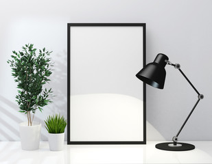 Frame poster and lamp mockup on tabel 3d rendering