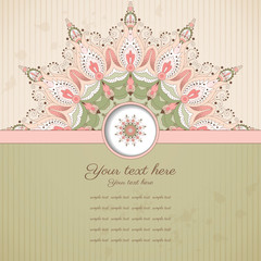 Vector card. Round  oriental pattern on vintage background. Old paper, strips and stains. Place for your text. Perfect for greetings, invitations or announcements.