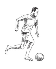 Sketch of football player in Vector.