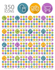 Set of 350 Universal Flat Minimalistic Elegant Standard Thin Line Icons on Circular Colored Buttons on White Background