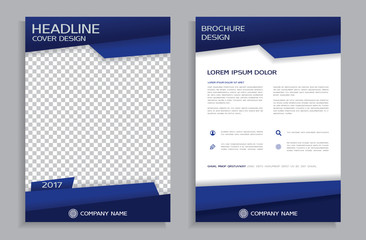 Blue flyer design template - brochure - annual report, front and back page  Wall mural