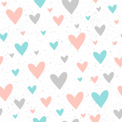 Heart seamless pattern background. Doodle handmade blue, pink and grey hearts