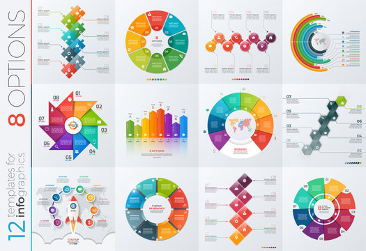 Collection of 12 vector templates for infographics with 8 options for presentations, advertising, layouts, annual reports