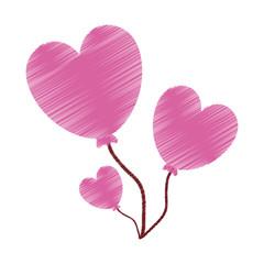 drawing love heart balloons valentine vector illustration eps 10