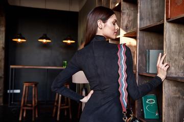 Woman wear fashion skinny dress beautiful model accessory bag