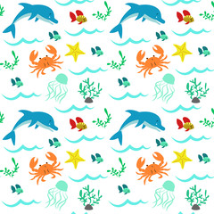 Seamless pattern with sea elements, dolphin, crab, seaweed, star, fish, wave.