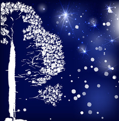 Pine tree . Ink drawing in the Chinese style. Vector design. Dark blue background, stars and particles.