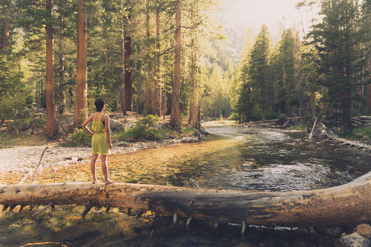 A young southeast asian woman with short hair and a yellow dress stands barefoot on a fallen tree over a river surrounded by trees and afternoon sunlight