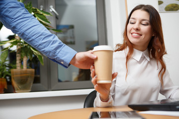 Photography of brunette with coffee