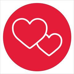 couple hearts love valentine romantic white line icon on red circle