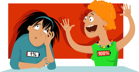 Introvert and extrovert personalities talking, EPS 8 vector illustration, no transparencies
