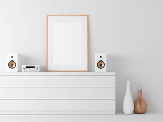 Poster Frame Mockup in white modern interior, Micro stereo System, 3d rendering