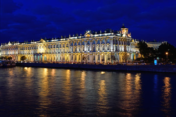 View of the Winter Palace from the Palace bridge on Neva river d