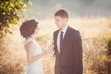 Toned wedding photo, bride and groom with champagne