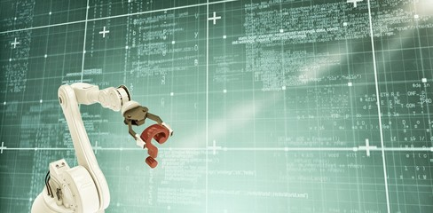 Composite image of robotic arm with red question mark 3d