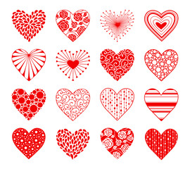 Decorative hearts with ornament isolated on white background. Design elements collection for Valentine's Day.