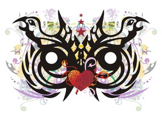 Printed kitchen splashbacks Butterflies in Grunge Grunge tribal unusual owl head. The stylization of the head of an owl formed by the eagle heads with floral splashes, red heart, arrows and asterisks