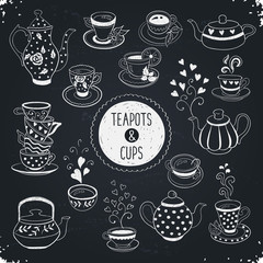 Hand drawn teapot and cup collection. Doodle tea cups, coffee cups and teapots on blackboard. Vector illustrations for cafe and restaurant menu design.