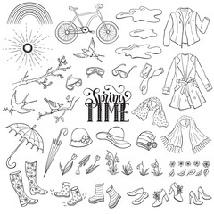 Hand drawn spring objects set. Collection of spring accessories isolated on white background. Monochrome illustrations for coloring books.