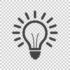 Light bulb line icon vector, isolated on isolated background. Idea sign, solution, thinking concept. Lighting Electric lamp illustration in flat style for graphic design, web site