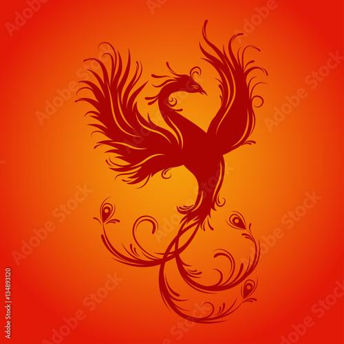 Silhouette Of Phoenix Bird Red Fenix Symbol Of Immortality Fiery