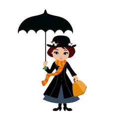 Mary Poppins with umbrella. Vector illustration.