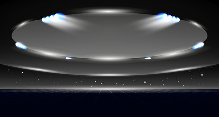 Sport background of dome of stadium with lights of projectors.