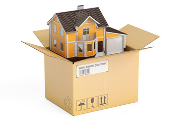 Household moving services concept. Parcel with house, 3D renderi