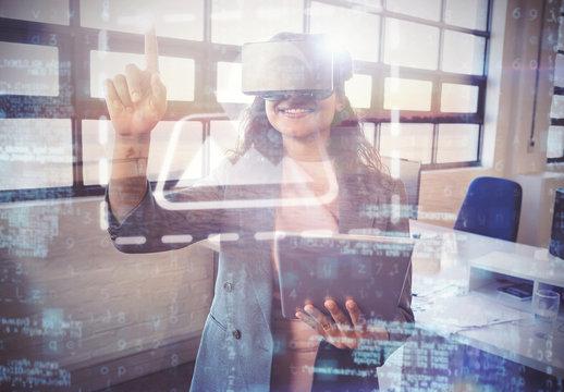 VR User in front of Window Screens Mockup 2