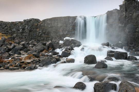 Oxararfoss waterfall in Thingvellir National Park, Iceland