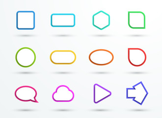 Vector 3d Color Text Box Frames Different Shapes Set of 12