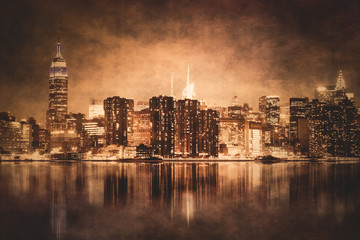Wall Mural - Vintage style New York City skyline of Manhattan with grunge texture
