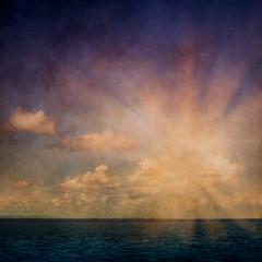 Sky, clouds and ocean with vintage grunge texture