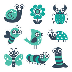 Cute collection of vector cartoon bugs, insects, garden elements in mint green and navy blue. Isolated on white, set includes bee, flower, caterpillar, butterfly, snail, beetle, worm, ladybug, bird.