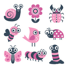 Cute collection of vector cartoon bugs, insects and garden elements in pink and navy blue. Isolated on white, set includes bee, flower, caterpillar, butterfly, snail, beetle, worm, ladybug, bird.