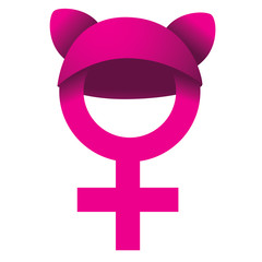Female symbol wearing pink knit cat hat.  Symbol of female solidarity. EPS 10 vector.