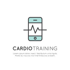 Vector Icon Style Illustration Logo of  cardio training, fitness and gym workout object. Healthy lifestyle, Bodybuilding and Heart beat pulse, Mobile Tracking App and Watch