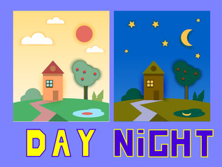 Day and night houses with trees. Concept flat style vector illustration.